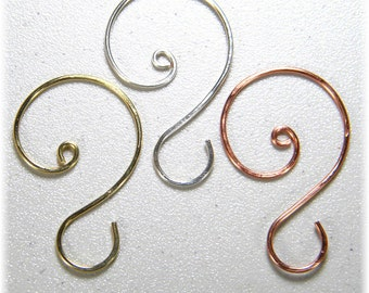 """Large (1 3/4"""" to 2"""") Ornament Hooks in Silver, Gold, or Copper, Set of 12"""