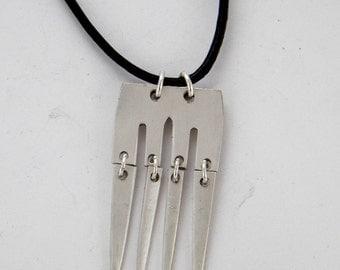 Hinged Fork Pendant Necklace, Vintage Silverplate Fork