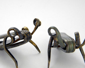 Good Luck Cricket Sculpture Recycled Vintage Silverplated Patinaed Fork