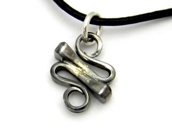 Horseshoe Nail Squiggle Pendant Necklace