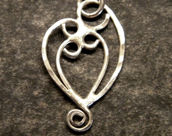 Mother and Three Child Pendant Necklace Sterling Silver
