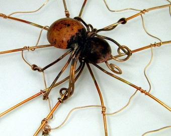 Copper Spider & Web Garden Ornament
