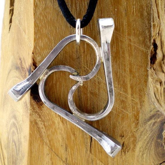Horse Shoe Nail Triskelion Triple Wave Equestrian Pendant
