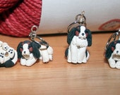 Tri-Colored Cavalier King Charles Stitch Markers (set of 4)