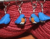 Eastern Bluebirds Stitch Markers (flock of 4)