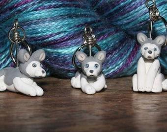 Siberian Husky Stitch Markers (set of 4)