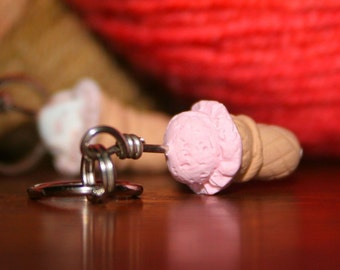 Ice Cream Stitch Markers Set of 4 Miniature Polymer Clay Sculpted Food Knit, Crochet Accessories