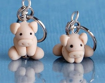 Polymer Clay Pig Stitch Markers (drove of 4)