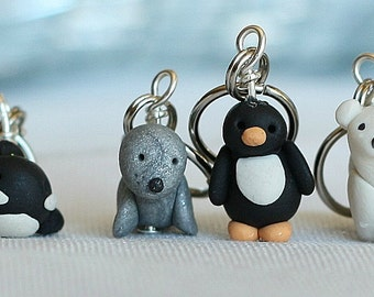Miniature Polar Polymer Clay Stitch Markers Penguin, Orca, Seal, Polar Bear (set of 4)