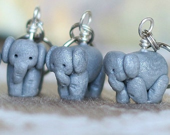 Elephant Stitch Markers (herd of 4)