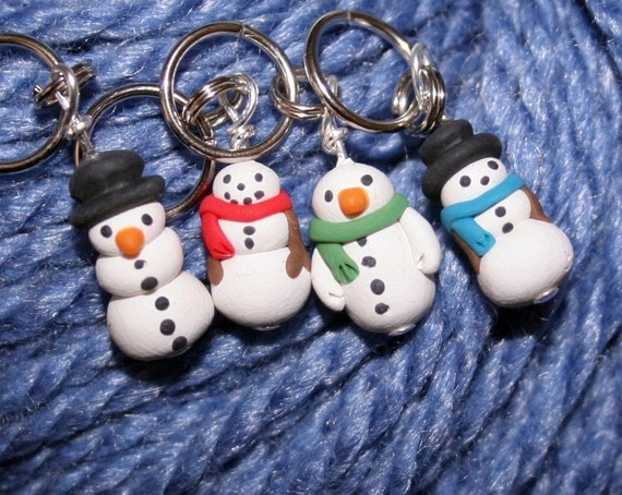 Snowman Stitch Markers (set of 4)