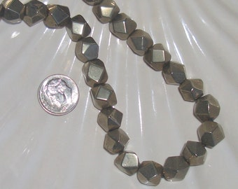 Pyrite Faceted 8mm Nugget Beads