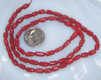 Red Coral Branch Beads, 7 - 9mm, Half Strand
