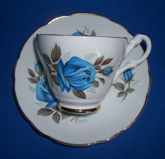 Vintage Consort Blue Roses Teacup and Saucer Set