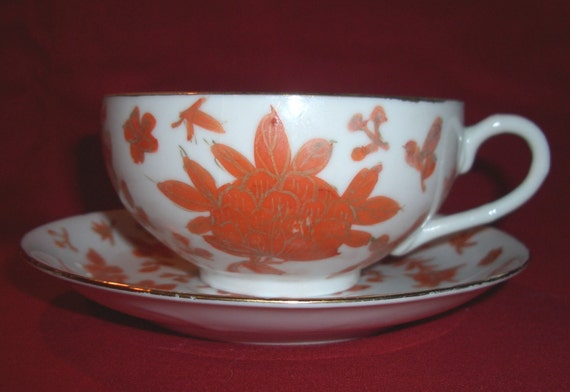 Vintage Made In Japan Red Lotus Flower Teacup and Saucer Set