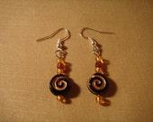 Black and Gold Swirly Earrings