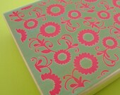 big rubber stamp background . allover design . floral with scroll vine . 4x3 inches . mounted rubberstamp . LAST in stock