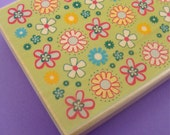 flower power . big rubber stamp background . allover design . 4x3 inches . mounted rubberstamp