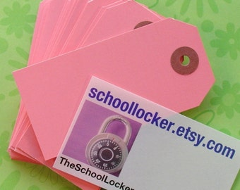 100 pink shipping tag labels . size 3 medium