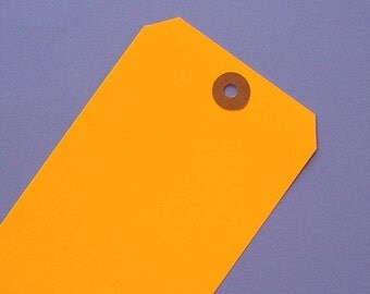 electric orange neon shipping tags \/ 30 pieces