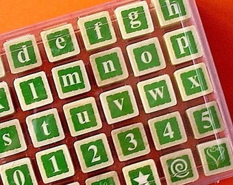 40 pc set rubber stamps alphabet numerals and symbols / lowercase