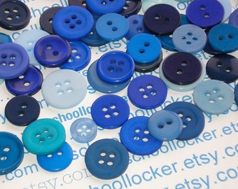 blue buttons / 100 pieces assorted