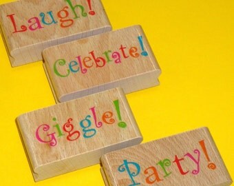 rubber stamp set / party giggle laugh celebrate . wood mounted