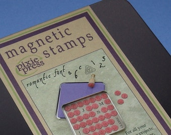 rubber stamps alphabet magnetic set / 41 pieces . romantic font