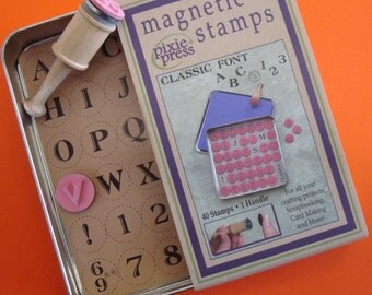 magnetic rubber stamp alphabet . classic font .  SALE