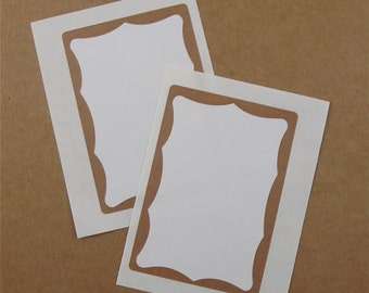 30 label stickers with brown border . printable