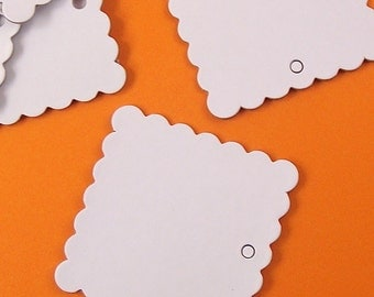chipboard square scallop tags . 12 pieces