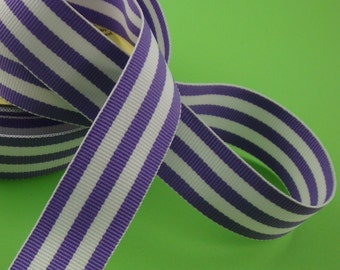 grosgrain ribbon /  purple and white stripe . 7/8 inches x 5 yards