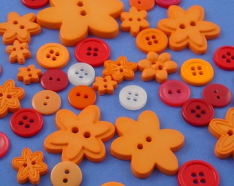 orange red buttons / 40 pieces with flower assortment . LIMITED stock