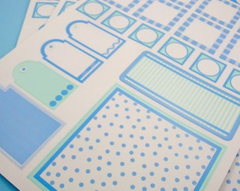 cardstock stickers . 3 sheets . blue assortment