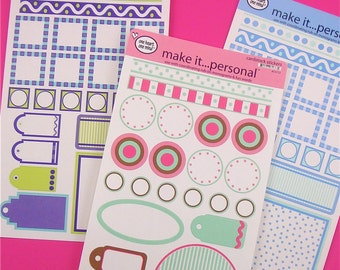 cardstock stickers . 9 sheets . mega huge assortment . 3 styles