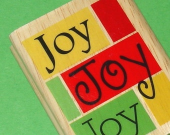 SALE rubber mounted stamp / Holiday  JOY Christmas greeting