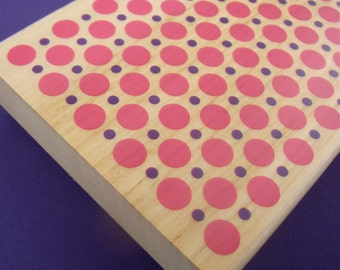 big rubber stamp background . allover design . double polka dot . 4x3 inches