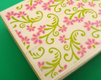 scroll vine floral . big rubber stamp . background allover design  . 4x3 inches . mounted rubberstamp