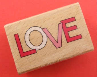 LOVE outline  / rubber mounted stamp . rubberstamp . LAST in stock