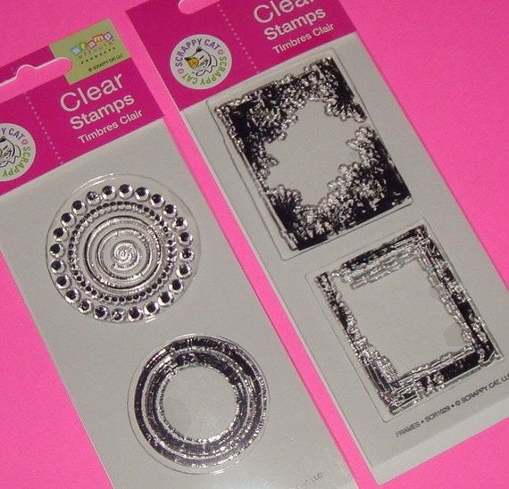 clear border stamps / circle rectangle frames / acrylic 4 piece