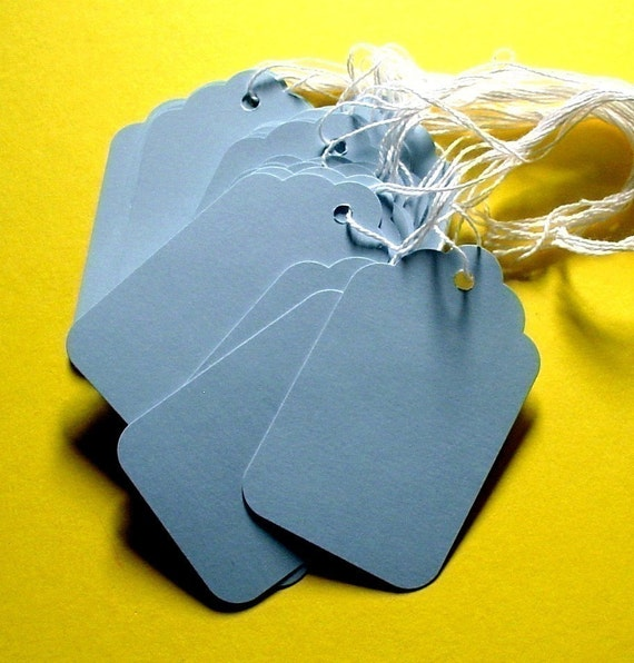 50 blue scalloped paper tags with string