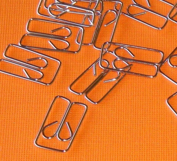 fancy paperclips / bright silver / 100 pieces . paper clip