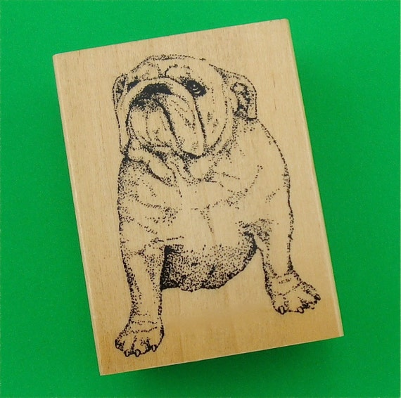 rubber mounted stamp / Bulldog dog . LAST in stock