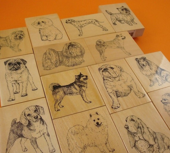 10 dog rubber stamps . CUSTOM VALUE set . your choice
