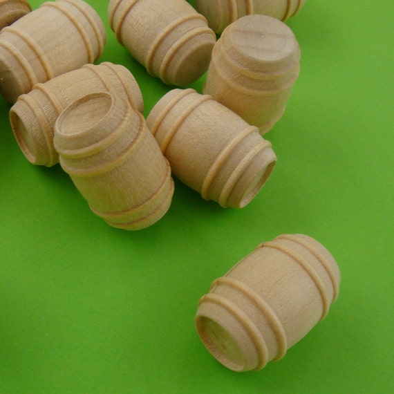 wood barrels . collage doll minatures . 15 pieces . LAST in stock