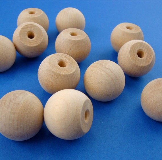 16 solid round wood ball KNOBS . doll head . 1 inch . unfinished : LAST in stock