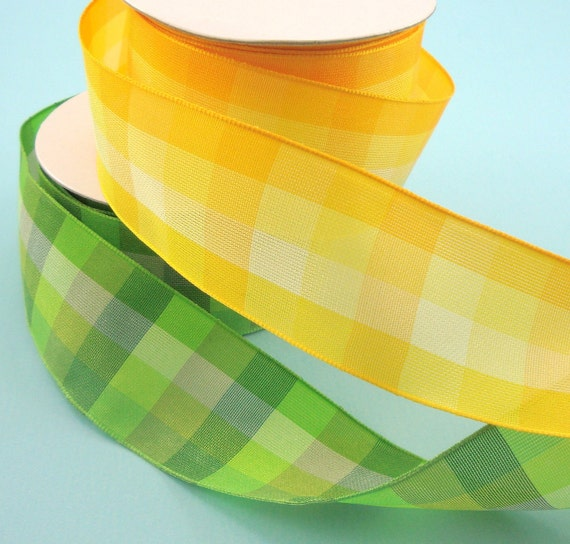 lime green yellow plaid ribbon . 8 yards . wired . 2 bolts . 2 styles . 1 1/2 inch . assortment pack