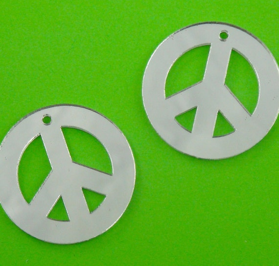 mirror embellishments . peace sign . set of 6 . LAST in stock