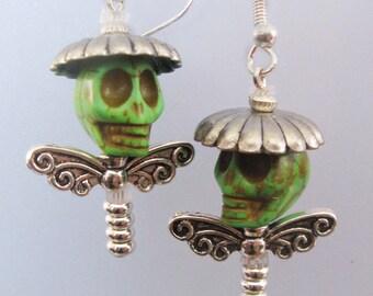 Skull Earrings, Art Dolls for your ears  (Green Sombrero Boys)  FREE SHIPPING