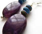 Purple Agate and Rainbow Calsilica Earrings